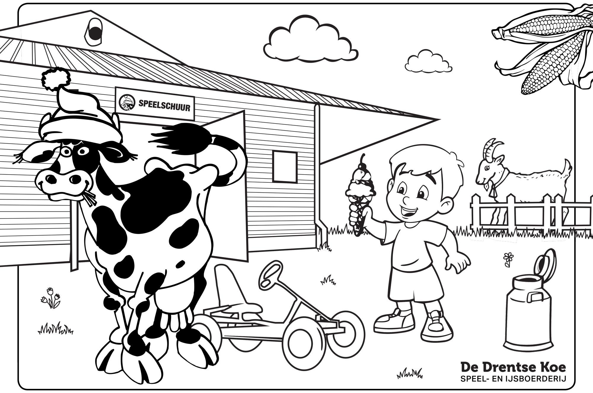 Kleurplaat De Drentse Koe speelschuur