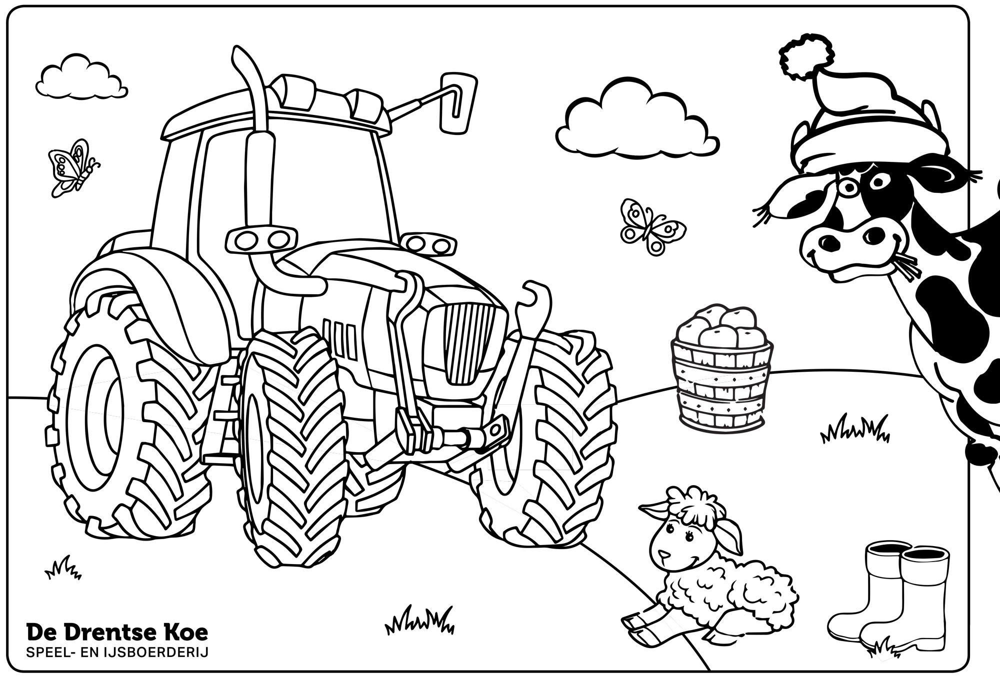 Kleurplaat De Drentse Koe tractor
